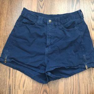 American Apparel Blue High-Waisted Shorts